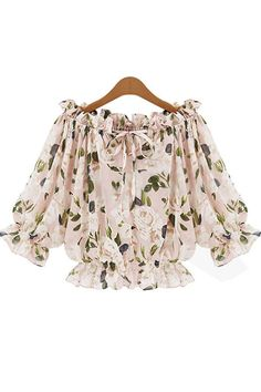 The perfect blouse to dress up or down! It features chiffon fabric, boat neck, floral print, ruffle detail and half sleeve. Pair this top with a skirt and matching pointed toe pumps to complete your look.