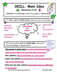 """Close Read to get the Main Idea ~ FREEBIE .....Follow for Free """"too-neat-not-to-keep"""" teaching tools & other fun stuff :)"""