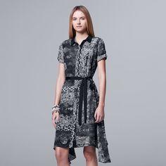 Women's Simply Vera Vera Wang Mix-Media Shirtdress