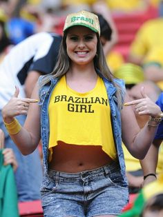 Brazilian Fans attend Brazil - Cameroon World Cup game in Brasilia. Hot Football Fans, Football Girls, Girls Soccer, Soccer Fans, Sporty Girls, Fans Sports, Female Football, Lionel Messi, Fifa