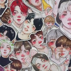 huge kpop stickers set bts bangtan wanna one nct dream exo korea bujo stickers k-pop diy Anime Couples Drawings, Couple Drawings, Banana Milk, Day6, Bts Members, Nct Dream, Exo, Fan Art, Stickers