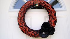 Halloween Wreath Black Lace And Orange 14 Inch Wreath. $ 34.00, via Etsy.