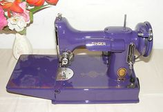 Vintage Sewing Machine Singer Featherweight 221 Custom Purple | eBay