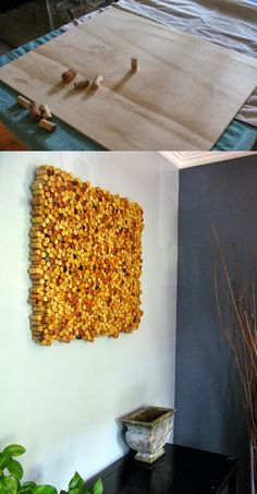 Turn leftover wine corks into wall art. I could do this for my brother, if he would let me have the corks.