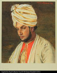 The Munshi Abdul Karim. Watercolour portrait of Queen Victoria's servant Abdul Karim after Rudolf Swoboda, by Queen Victoria, 1889. Queen Victoria's Journals (http://www.queenvictoriasjournals.org). RL K.43. f.45 verso (Sketchbook illustration).