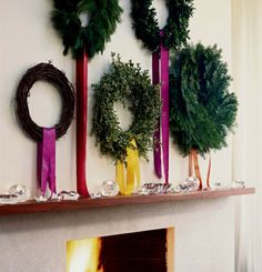 simple wreaths with colorful ribbons