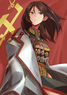 Nonna [Girls und Panzer] as Marshal Zhukov Anime Military, Military Girl, Manga Pictures, Girl Pictures, Ww Girl, Anime Girl Brown Hair, Brave Witches, Arte Fashion, Military Drawings