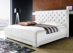 Polsterbett Kunst-Lederbett Weiß Bettgestell Doppelbett Komforthöhe Salomon   eBay