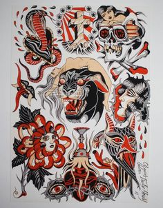 Traditional Tattoo Old School, Traditional Tattoo Design, Dessin Old School, Tattoo Tradicional, Tatto Old, Sailor Jerry Tattoos, American Traditional, Neo Traditional, Old School Tattoo Designs