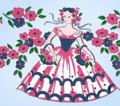 1950s Four Color Vintage Textilprint 7230 Garden Gal Uncut No Sew Transfer