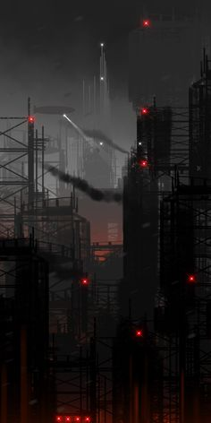 Cyberpunk Atmosphere, Futuristic, Future City, Dark Future by Chris Spencer <<<< inspiration for the city of Perfects in my book The Imperfect One.