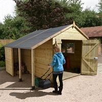 As one of our most premium sheds, the Ultimate Heavy Duty Apex Shed with Log Store. Visit Buy Sheds Direct for our superb range of wooden sheds and more. Curved Pergola, Pergola Ideas, Pergola Plans, Pergola Lighting, Wooden Pergola, Pergola Kits, Outdoor Buildings, Garden Buildings, Gardens