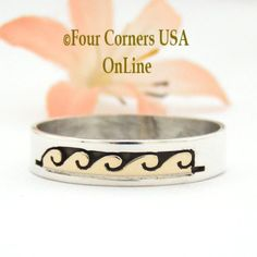 Size 14 Ring 14K Gold and Silver Wave Water Symbol Wedding Band Style Navajo Scott Skeets NAR-1604 Four Corners USA OnLine Engagement Wedding Ring Sets, Gold Wedding Rings, Wedding Ring Bands, Native American Wedding, Native American Rings, Four Corners Usa, Water Symbol, Wedding Band Styles, Alternative Wedding Rings