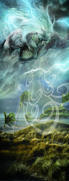 Tawhirimatea-God of storms, Shannon Brocas Magical Creatures, Fantasy Creatures, Hawaiian Mythology, God Of Lightning, Maori Legends, Maori Patterns, Maori People, Warrior Drawing, New Zealand Art