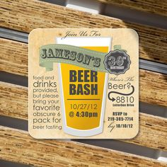 Birthday Party invitation Coasters  Craft paper by Product80, $0.75