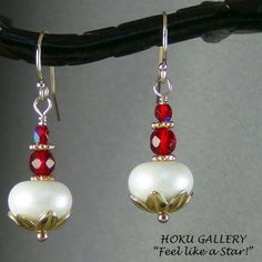 """OOAK, White Lampwork Glass Bead Earrings, Red Crystals, 14k Gold Filled Earwires 1.5"""" - Hand Crafted Artisan Jewelry"""