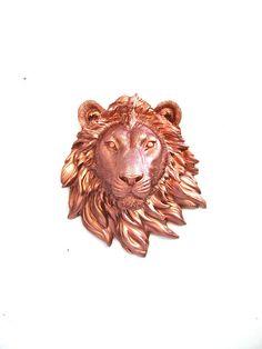 LITE BRONZE Small Faux Taxidermy Lion Animal Head by mahzerandvee