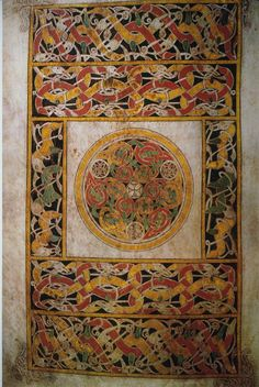 [Unknown, Book of Durrow: carpet page, cross surrounded by animal interlace, ink, tempera/parchment, British Isles, c.a. 680, Early Medieval Europe] Uses only four colors to decorate: red, green, yellow and brown. Symmetry is present in the interlace border, each side mirroring the other.The text uses a broad color palete: purple, lilac, red, pink, green, yellow being those most often used.(cowredvines, 191)