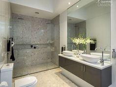 Colour scheme Modern bathroom design with twin basins using frameless glass - Bathroom Photo 6884005 Family Bathroom, Basement Bathroom, Small Bathroom, Loft Bathroom, Master Bathroom, Glass Bathroom Cabinet, Bathroom Basin, Bathroom Cabinets, Bathroom Photos
