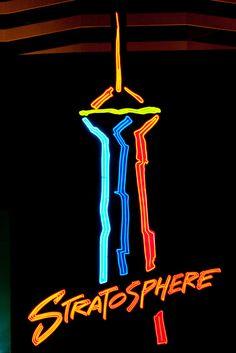 Stratosphere, neon sign, Las Vegas by Thomas Hawk