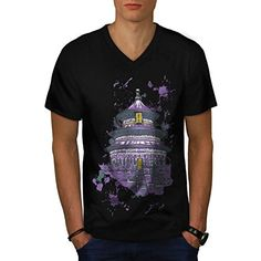 Buddhist Temple Life Religion Men NEW L VNeck Tshirt  Wellcoda -- Check this awesome product by going to the link at the image.