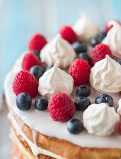 Cream & Lemon Curd Layered Sponge with Berries & Meringue