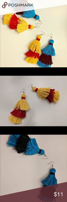 Three tiered tassel earrings from cotton thread These are unique earrings handmade by me using cotton thread. Hooks are silver plated. 4.5 inches from top of hook to bottom of earrings. Length could be adjusted upon order. CottonArtBoutique Jewelry Earrings