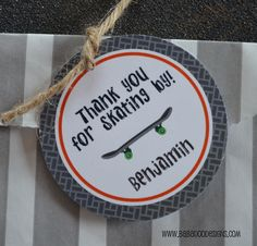 """Skateboard 2.5"""" Round Thank You Tag  choose your wheel color  www.BabadooDesigns.com"""