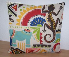 Kissen Kissenhülle Leinenoptik Bezug Afrika Gecko Nilpferd Giraffe Flamingo