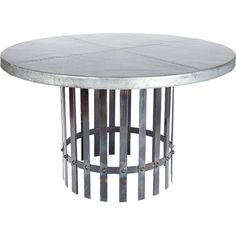 Amargosa Round Zinc Top Dining Table by Williard - shown with the Fire finished iron table base Dining Table Sizes, Trestle Dining Tables, Counter Height Dining Table, Solid Wood Dining Table, Dining Table In Kitchen, Extendable Dining Table, Round Dining Table, Table Bases, Outdoor Table Tops