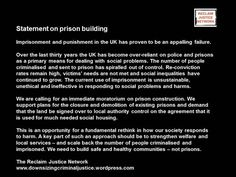 Statement on prison building from the Reclaim Justice Network. Build safe and healthy communities - not prisons.