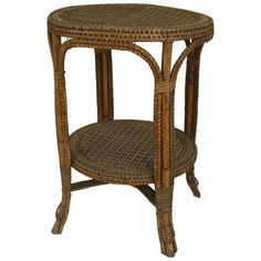 French Victorian natural wicker round center table with a shelf trimmed with green & white wrapping (PERET & VIBERT metal label)(matches 060663 & Table Furniture, Home Furniture, Center Table Living Room, Wicker Side Table, Leather Loveseat, Victorian Furniture, Love Seat, Upholstery, Shelves