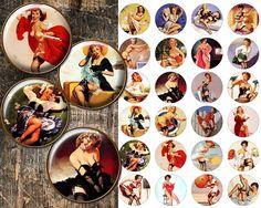 Pin up Girls Bottle cap pendant images Digital Collage Sheet