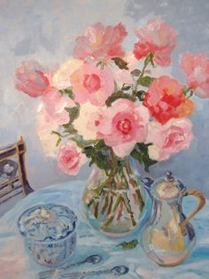 Elinor Carleton-Smith - Pink Roses and Silver Jug African Paintings, Pink Roses, Sculptures, Old Things, Gallery, Spring, Artist, Silver, Silver Hair