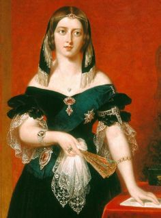 1840 Queen Victoria wearing rubies by John Partridge.  Partridge portrays Queen Victoria wearing a striking black dress with gorgeous lace and a ferroniere across her forehead in this 1840 work.