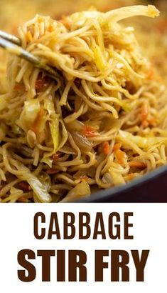Easy and amazing cabbage stir fry recipe with carrots and fresh ginger. definitely top with sweet chili sauce like she says Ramen Noodle Cabbage Stir Fry Recipe - Build Your Bite Build Yo Stir Fry Recipes, Vegetable Recipes, Vegetarian Recipes, Cooking Recipes, Healthy Recipes, Easy Asian Recipes, Korean Recipes, Cooking Tips, Chicken Recipes