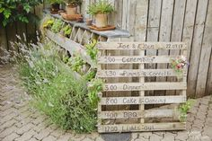 Green Man Fownhope Wedding by Gemma Williams Photography - order of the day on pallet #pallet #wedding #orderoftheday #rustic