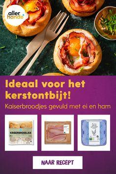 Kerstontbijt-recept: kaiserbroodjes met ei en ham. Heel makkelijk om te maken met maar weinig ingrediënten en het ziet er ook nog eens gezellig uit! Voeg wat bieslook toe en je hebt een lekker kerstontbijt. Bekijk dit recept en meer kerstontbijt-recepten op ah.nl/allerhande. #allerhande #kerstontbijt #kerstrecepten #kaiserbroodjes #ontbijtrecepten #makkelijkerecepten #ovengerecht #ontbijt #kerst Vegetarian Recipes, Healthy Recipes, Street Tacos, Nom Nom, Breakfast Recipes, Food And Drink, Homemade, Baking, Home Made