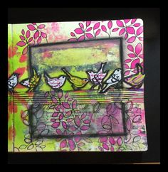 Art Journal page started with a Gelli Plate Print and using ClarityStamps stamps and Stencils by Sam Crowe January 2016