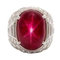 Magnificent Star Burma Ruby Diamond Art Deco Ring 1