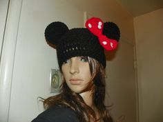 Minnie Mouse Hat  with a Red Bow and White Buttons by Susieskorner, $22.00