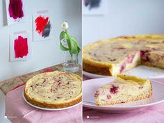 Cheesecake Quarktorte Rezept Himbeer Swirl