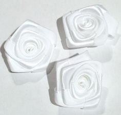 """White 1.5"""" satin ribbon rolled rosette flower"""