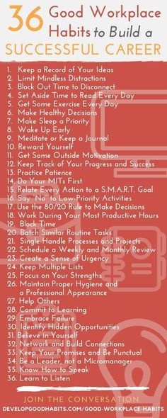36 Good Workplace Habits to Build a Successful Career (work habits to build unstoppable success) - Karriere Career Success, Career Advice, Career Ideas, Work Success, Job Career, Career Path, Achieve Success, Career Change, Career Goals