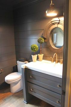 Farmhouse Powder Room - Design photos, ideas and inspiration. Amazing gallery of interior design and decorating ideas of Farmhouse Powder Room in bathrooms by elite interior designers - Page 28 Bad Inspiration, Bathroom Inspiration, Bathroom Ideas, Bath Ideas, Bathroom Designs, Bathroom Organization, Bathroom Renovations, Decorating Bathrooms, Organization Ideas