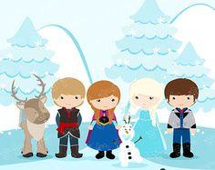SNOW PRINCESS   Digital Clipart ,  Princess Clipart, Princess Clip Art  / Instant Download