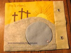 He Is Risen Quiet Book page Love the chef with spaghetti page.  She talks about the pros and cons of attaching pieces with ribbons.