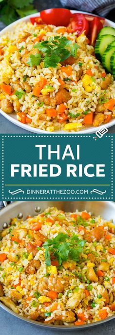 Thai Fried Rice with Chicken - Dinner at the Zoo Thai Fried Rice Recipe Fried Rice Recipe Chinese, Thai Fried Rice, Thai Rice, Stir Fried Rice Recipe, Thai Pineapple Fried Rice, Healthy Fried Rice, Shrimp And Rice Recipes, Chicken Rice Recipes, Recipe Chicken