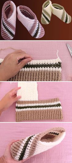 Crochet Shoes, Crochet Slippers, Crochet Clothes, Crochet Slipper Pattern, Crochet Sandals, Crochet Scarf Easy, Knit Crochet, Tunisian Crochet, Knitting Patterns