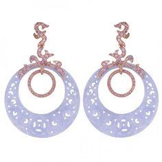Rose gold, purple sapphires and purple jade earrings by Dada Arrigoni